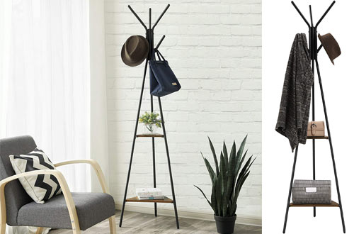 SONGMICS Standing Coat Rack Stand - Clothes Tree - Hat Rack with Shelf