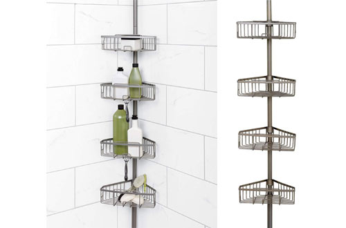 Zenna Home Rust-Resistant Tension Pole Shower Caddy