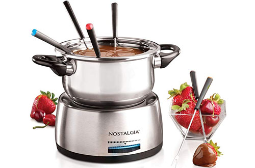 Nostalgia FPS200 Stainless Steel Electric Fondue Pots for Chocolate, Caramel, Cheese & Sauces