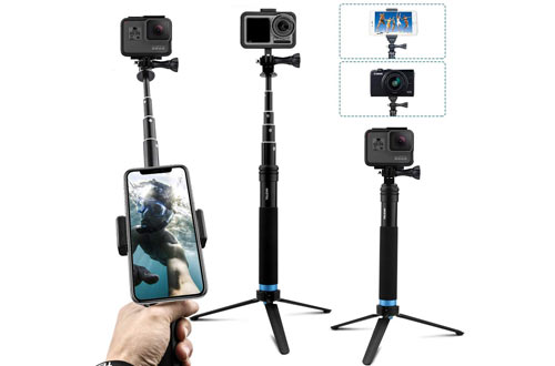 Aluminum GoPro Selfie Sticks with Stable Tripod Waterproof