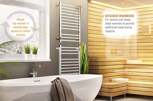 Brandon Wall Mounted Stainless Steel Towel Racks - Hardwired Towel Warmer