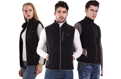 Prosmart Heated Vests - Polar Fleece Lightweight Heated Waistcoat with USB Battery Pack