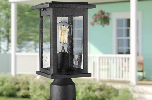 Emliviar Outdoor Post Light Fixtures with Seeded Glass