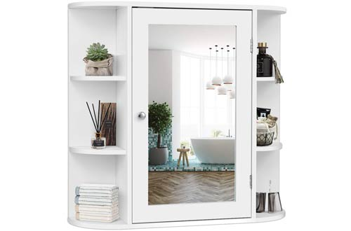 Tangkula Single Door Bathroom Wall Mounted Medicine Cabinets with Mirror