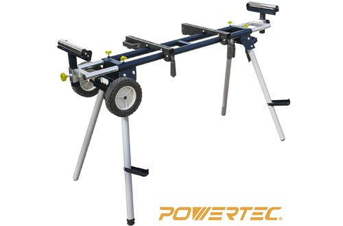 POWERTEC MT4000 Deluxe Miter Saw Stands with Wheels & 110V Power Outlet