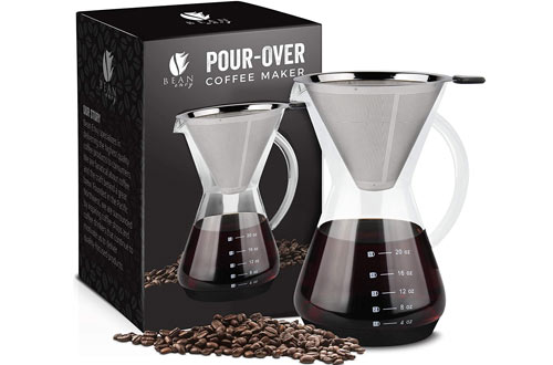 Bean Envy Pour Over Coffee Makers withPaperless Filter/Dripper