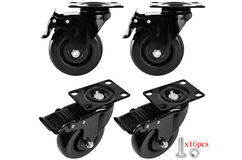 Moogiitools PVC Swivel Rubber Caster Wheels - Locking Casters Set with Brake